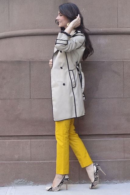 I love the trench with the black trim and the YELLOW pants!