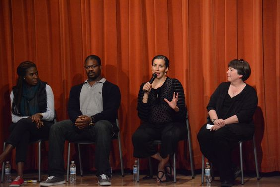 Set Designer Dede M. Ayite, Actor Marcus Henderson, and Director Patricia McGregor speak with moderator Marilyn Langbehn at the Inside Scoop for A Raisin in the Sun, opening May 21 at the Bruns Amphitheater in Orinda.  Photo by Jay Yamada.