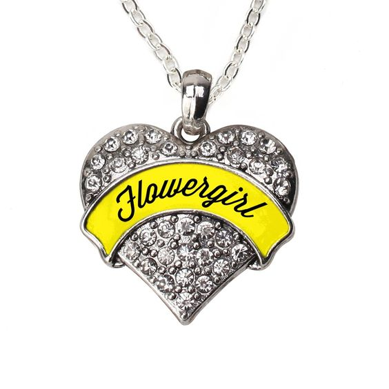 Yellow Flower Girl Pave Heart Necklace