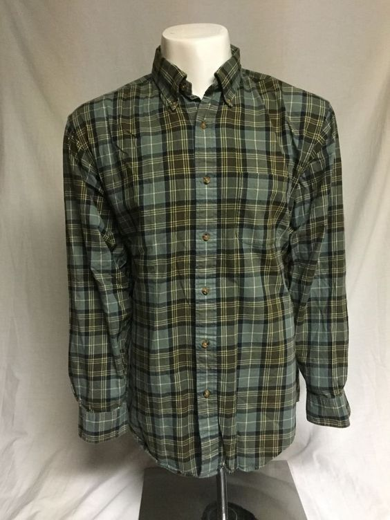 Brooks Brothers Green Plaid X-Large Long Sleeve Button Front Shirt XL #BrooksBrothers #ButtonFront