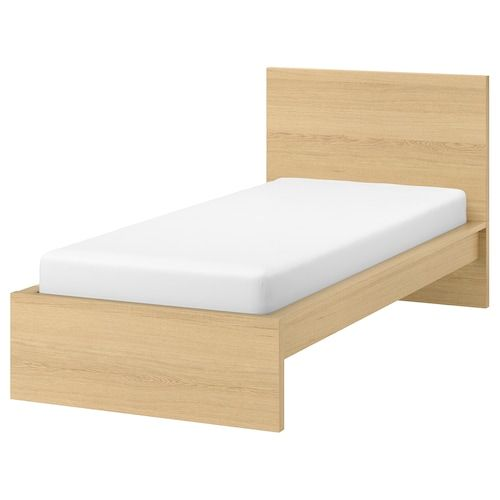 Malm Bed Frame High W 2 Storage Boxes White Stained Oak Veneer Luroy 90x200 Cm With Images Malm Bed Frame Malm Bed Bed Frame