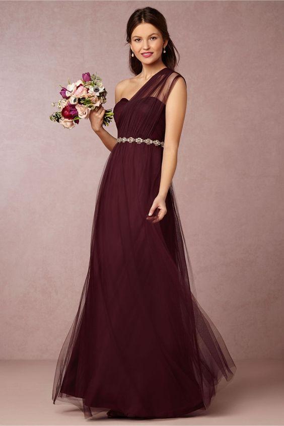 2016 Burgundy Bridesmaid Dresses Long One Shoulder Sleeveless ...