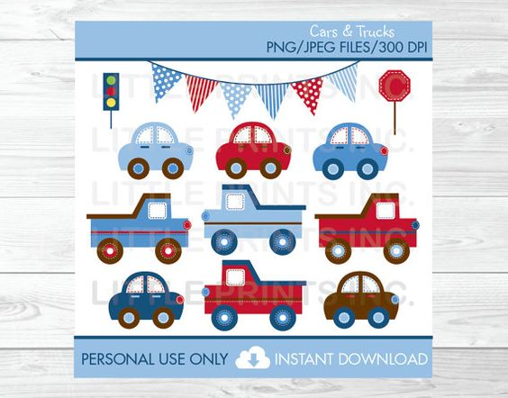 Car Truck Transportation Vehicles Clipart by LittlePrintsParties