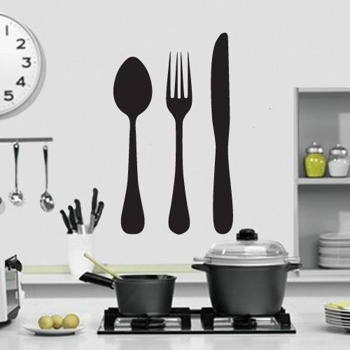 Details about Knife Fork and Spoon Kitchen Wall Art Design ...