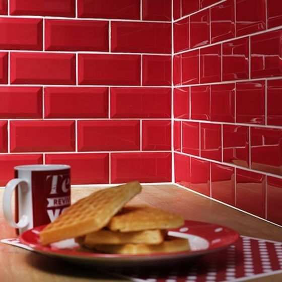 Metro Red Wall Tiles 10x20cm Cuisine Rouge Carrelage Rouge Cuisine Mur Rouge