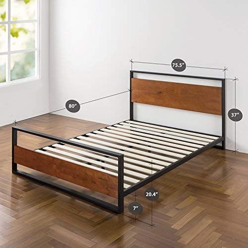 Zinus Ironline Metal And Wood Platform Bed With Headboard And