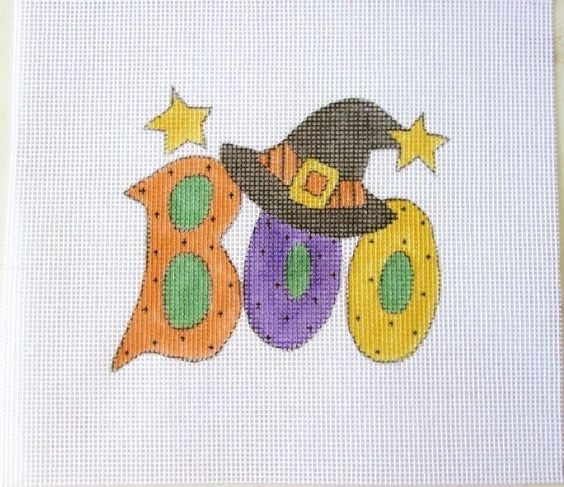 Halloween BOO w/Witch Hat Handpainted Needlepoint Canvas  #Unbranded