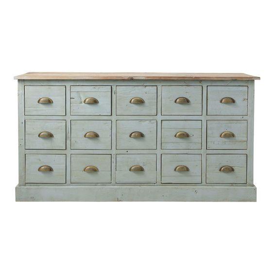 Comptoir multi tiroirs meuble de métier en bois recyclé gris L 165 cm Chatelet | Maisons du Monde