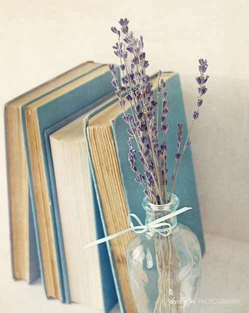 Vintage books and dried lavender. Great for book lovers, office, nursery, or any…: