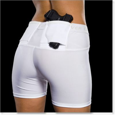 Each pair of shorts features two identical holsters, one on each side, so if you're right handed you can carry a handgun on your right side and also carry spare magazines, documents, handcuffs on your left side. And, vise versa for left handed individuals. Truly one of the most comfortable holsters you'll ever wear.