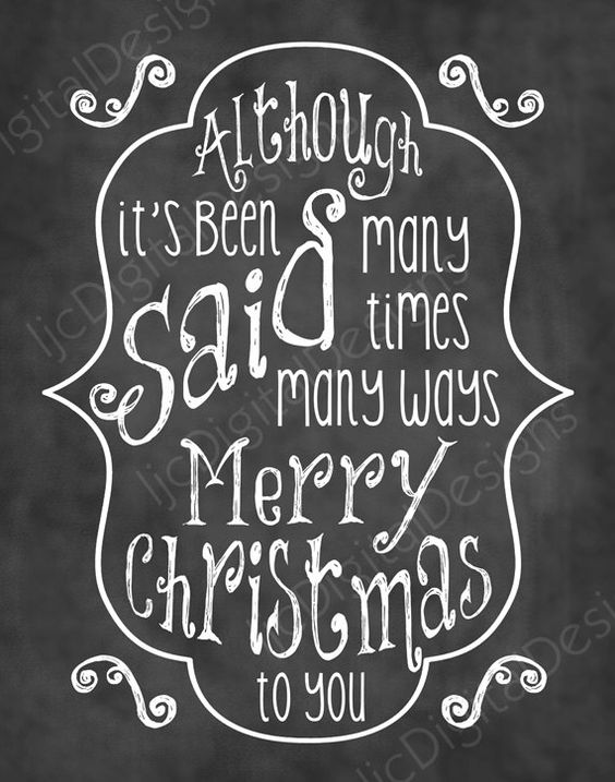 Christmas Song Chalkboard Word Art Lyrics Printable Digital Typography Decoration 11x14 and 8x10