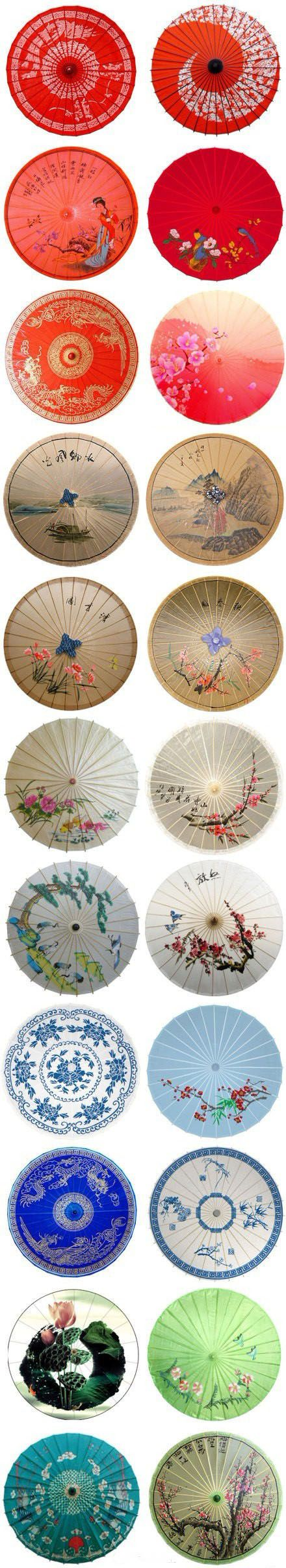 Handmade umbrellas oriental japanese birds oranges blues greens tans you name it they are all unique