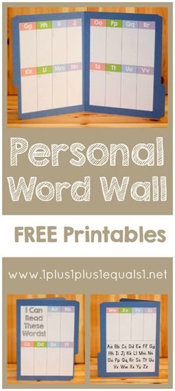 Create a personal word wall with these FREE printables!  From @1plus1plus1 #homeschool: Classroom Word Wall Ideas, Kindergarten Word Wall Ideas, 1Plus1Plus1 Homeschool, Work On Writing, Homeschool Reading, Homeschool Check, Free Printables, File Folder Phonics, Homeschool Word Wall