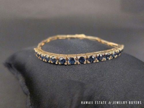 Heavy 14K gold elegant 3.4ctw Blue sapphire link bracelet