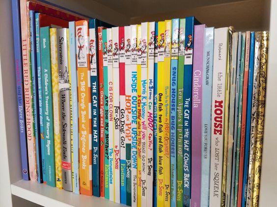 Pink and grey nursery - baby girl nursery - books