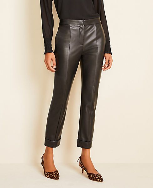 The Ankle Pant In Faux Leather Ann Taylor In 2020 Faux Leather Pants Outfit Leather Pants Outfit Faux Leather Outfits