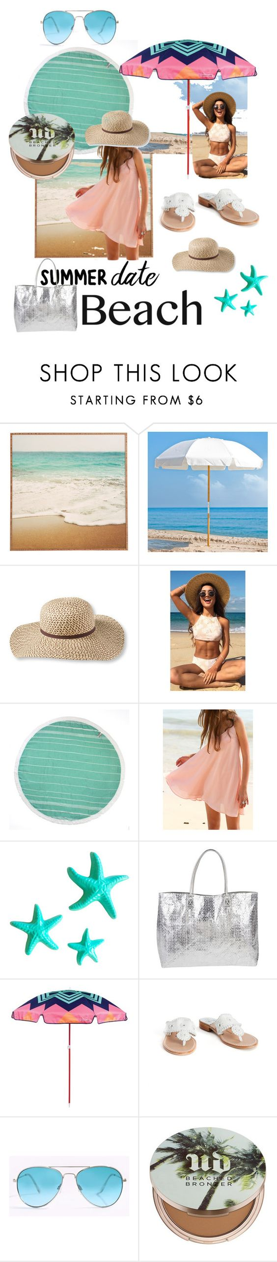 """""""Beach bae"""" by christawallace ❤ liked on Polyvore featuring Frankford, L.L.Bean, Dot & Bo, Armitage Avenue, Sunnylife, Palm Beach Sandals, Urban Decay, beach and summerdate"""