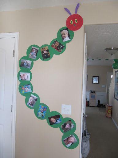 Very Hungry Caterpillar timeline: Classroom Idea, Caterpillar Photo, Photo Display, Birthday Idea, 1St Birthday, First Birthday, Monthly Picture, Caterpillar Picture