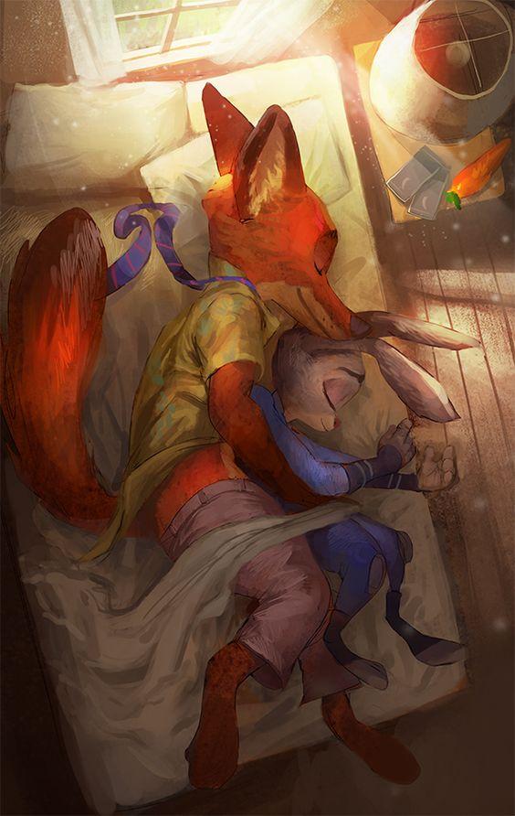Ausmalbild Nick Und Judy Hopps Aus Zootopia: Heartwarming Hug Between Judy Hopps And Nick Wilde