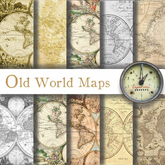 OLD WORLD MAPS Digital Paper Pack  10  Maps by DigitalAlice
