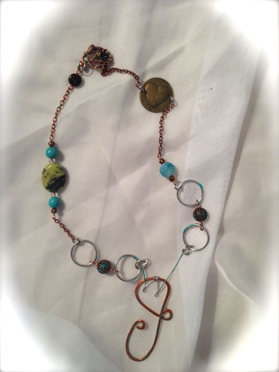 """""""J"""" is for Jennifer. Copper and silver link chain with glass and stone beads."""