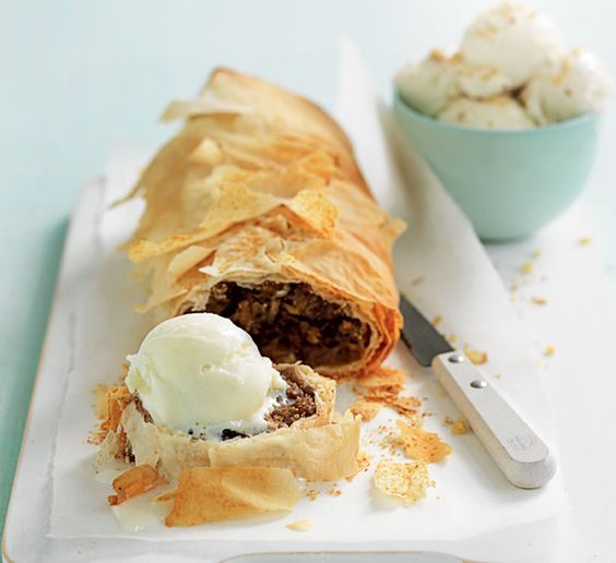 Apple, pear and sultana strudel. This healthy apple, pear and sultana strudel recipe uses fruit that you've already got in the house to make an impressive dessert