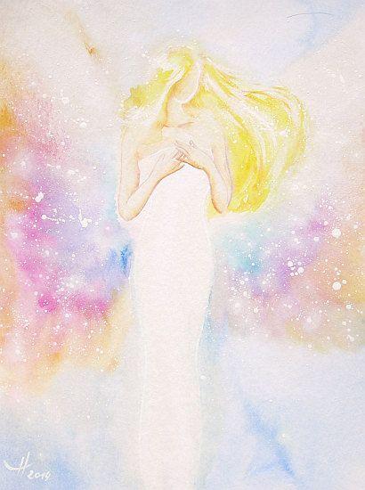 Originale Angelo dipinto benedizione angel di HenriettesART