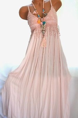 Sommerkleid Hakelspitze Hippie Boho Maxikleid Hakelkleid Altrosa 34 36 38 Neu Lace Dress Boho Lace Dress Trends Boho Maxi Dress