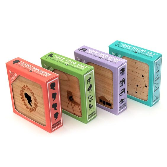 Cameo Silhouettes - Set of 4 Wood Coasters