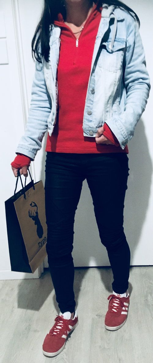 Red Hoodie Jumper Denim Jacket Black Pants Adidas Gazelles Red Adidas Red Hoodie Wearing Red