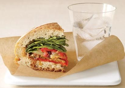 French Roasted-Vegetable Sandwich      Fitting in veggies is easy if they're tucked in a delicious sandwich. Here, olive oil, garlic, rosemary, and balsamic vinegar coat these vegetables to perfection.