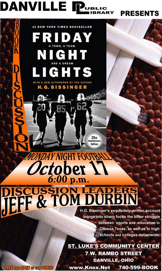 Adult Book Discussion @ Danville Public Library. Friday Night Lights!