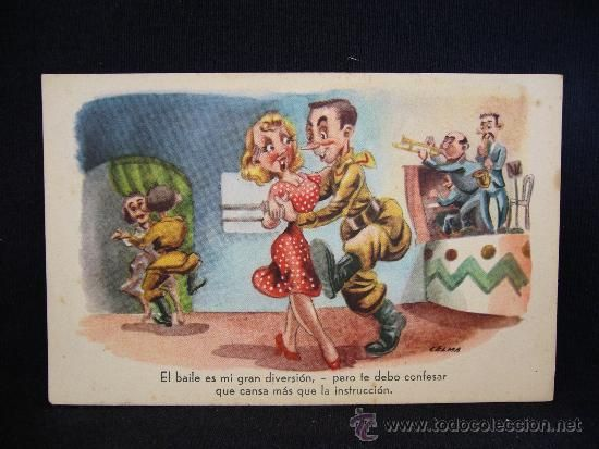 POSTAL ROMÁNTICA. HUMOR. HOMBRE Y MUJER. BAILE. JRR. SERIE 67. (Postales - Galantes y Mujeres)