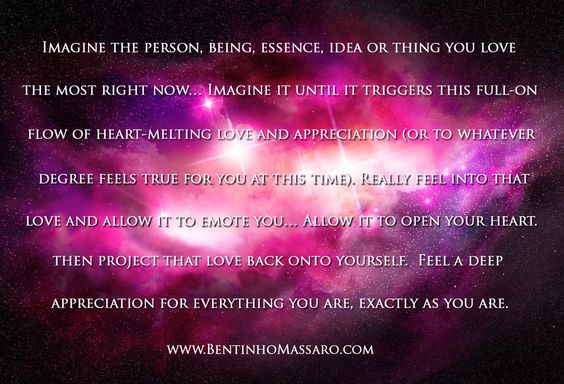 Imagine the person, being, essence, idea or think you love the most right now... Feel into that love... Allow It to emote you... Allow It to open your heart... Then project that love back into yourself... #bentinhomassaro: