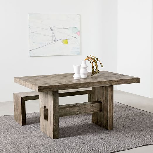 Emmerson 174 Reclaimed Wood Dining Table Stone Gray
