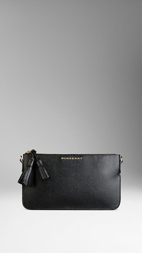 Patent London Leather Tassel Clutch Bag | Burberry