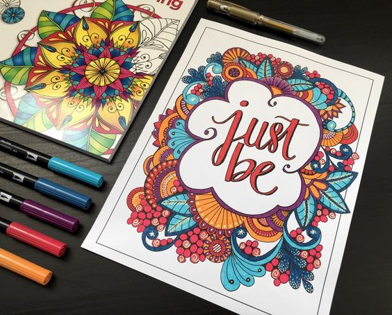 Finished coloring page from Inkspirations: Mindful Living by Adrienne at Cleverpedia! Love the gold gel pen!