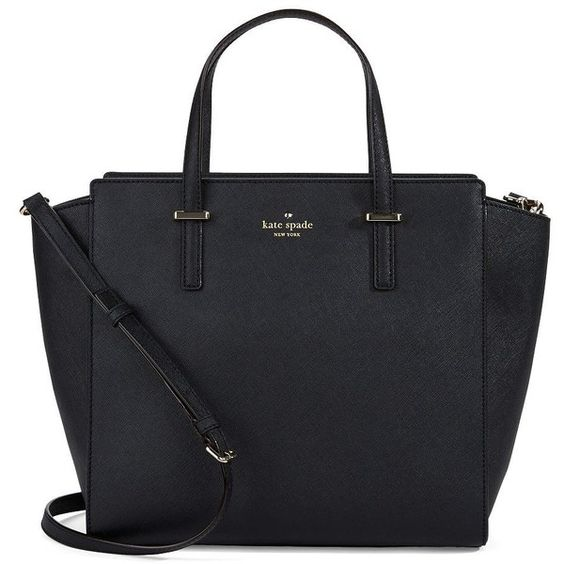 Kate Spade New York Hayden Leather Tote Bag (£140) ❤ liked on Polyvore featuring bags, handbags, tote bags, purses, bolsas, accessories, black, leather tote purse, leather handbag tote and purse tote