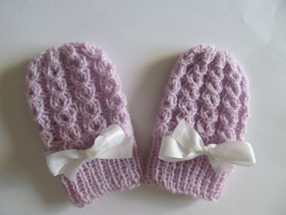 Easy Baby Mittens Knitting Pattern : PDF Knitting PATTERN Baby Thumbless Mittens Infant Mitts Winter Spring Easy t...