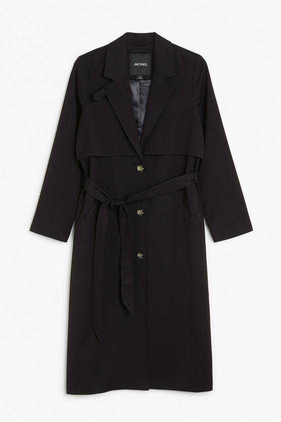 Monki Image 1 of Lightweight trench  in Black