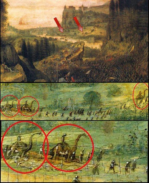 Foto's: Dinosaurussen in schilderij van Pieter Bruegel de Oude in 1562. - Daily Mysteries
