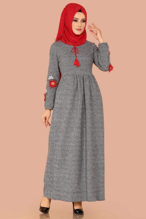 Modaselvim Elbise Nakisli Kislik Elbise 5383mp186 Acik Gri Elbiseler Elbise Elbise Modelleri