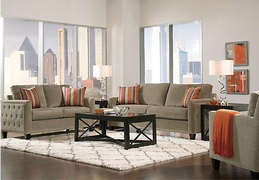 Shop for a Sofia Vergara Uptown Platinum 7 Pc Living Room at Rooms - wohnzimmer beige grun braun