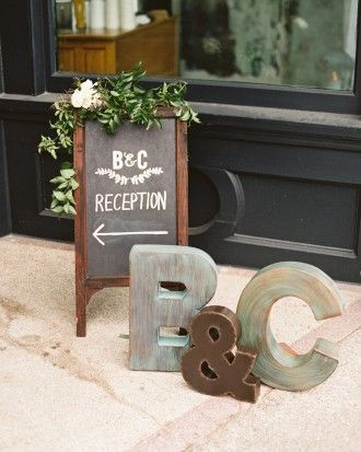 Create wedding signage out of 3-D letters from TJMaxx or Hobby lobby to keep your guests in the right direction. See more of this bride's crafty signage in this real wedding in South Carolina!