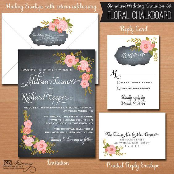 Floral Chalkboard Wedding Invitation Set with by designedbyme