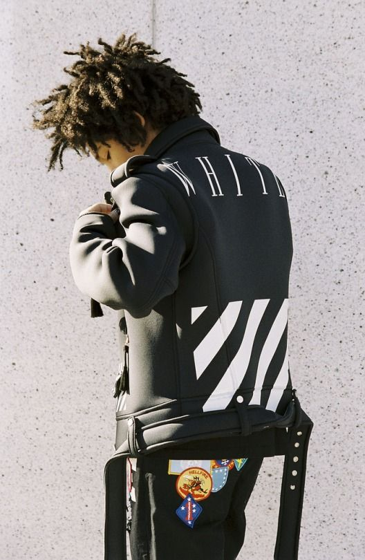 OFF-WHITE c/o VIRGIL ABLOH Printed Leather Jacket. Now available via Selfridges.com for $1,742 USD. (Model: Luka Sabbat - @LukaSabbat | Source: PAUSE) #INSTASTREETWEAR #Streetwear #OFFWHITE #LukaSabbat #Jacket #Selfridges #PAUSE #Fashion