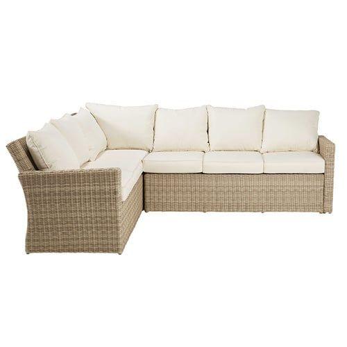 Canapé du0027angle de jardin en résine tressée beige et coussins écrus - salon d angle de jardin