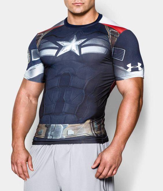 Men 39 s under armour alter ego captain america compression for Hulk under armour compression shirt