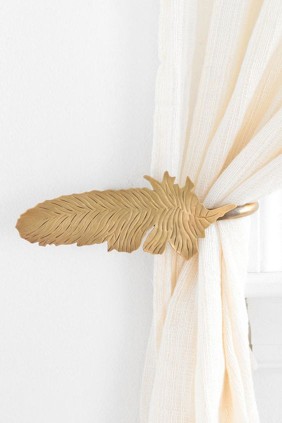 Feather curtain tie backs