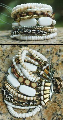 Beautiful White Mixed Media Tribal Cuff Bracelet $200
